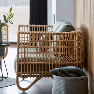 NEST 2 Seater Sofa in Natural Rattan with Dark Green Cushions
