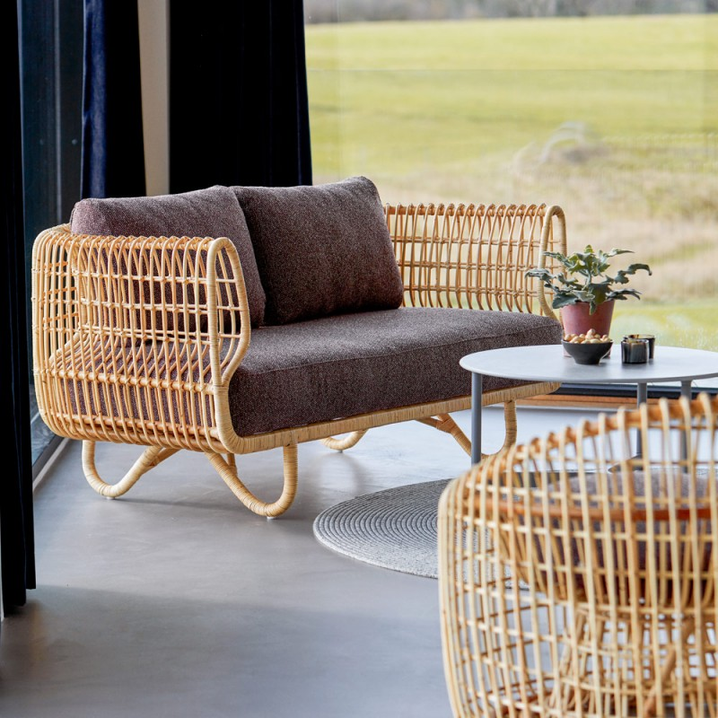 NEST 2 Seater Sofa in Natural Rattan with Bordeaux Cushions