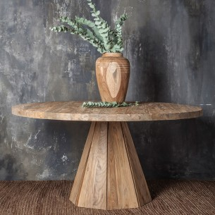 JATI Round Dining Table 6 Seater in Natural Reclaimed Teak W160