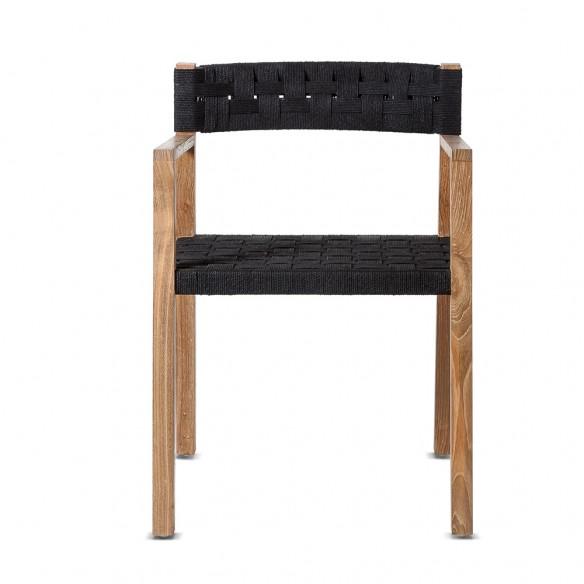 Dinning Chair CORA in teak et robe - Natural/Black - Dareels
