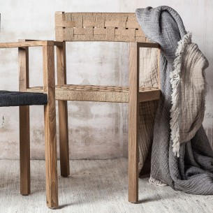 CORA Dining Chair in Reclaimed Teak with Armrests and Natural Rope