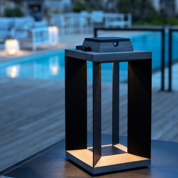 DURATEK Solar Lantern H36cm Black Aluminium Rechargeable LED Adjustable Brightness
