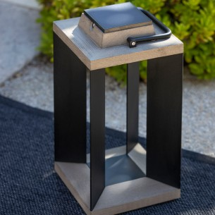 DURATEK Solar Lantern H45cm Black Aluminium Rechargeable LED Adjustable Brightness