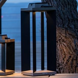 Lanterne solaire DURATEK ALU noir H65cm LED rechargeable Intensité réglable