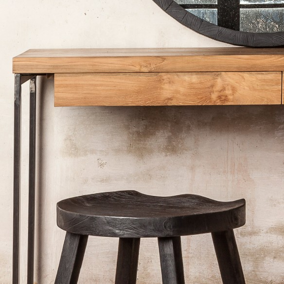 THREE Console in Reclaimed Teak with Drawers W130