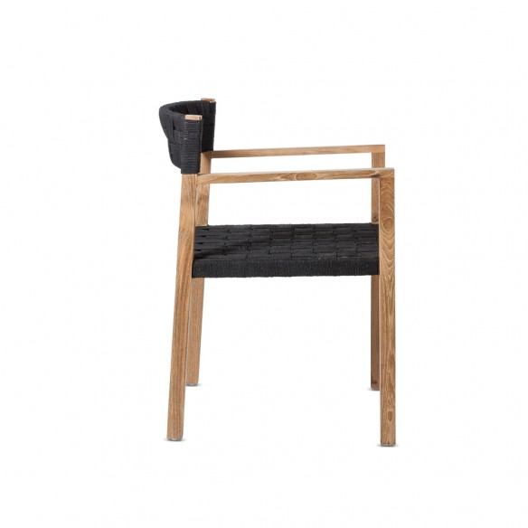 CORA Dining Chair in Reclaimed Teak with Armrests and Black Rope