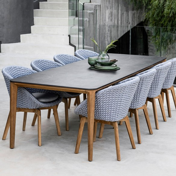 Aspect Outdoor Dining Table 8 Seater Teak Frame Ceramic Table Top