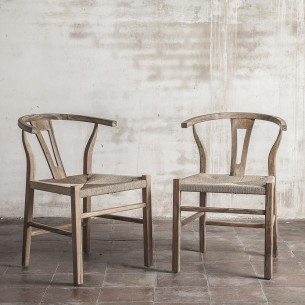 ROB Dining Chair in Natural Reclaimed Teak and Natural Rope