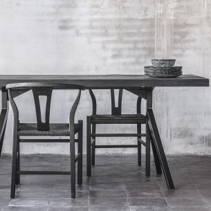 ROB Dining Chair in Black Reclaimed Teak and Black Rope