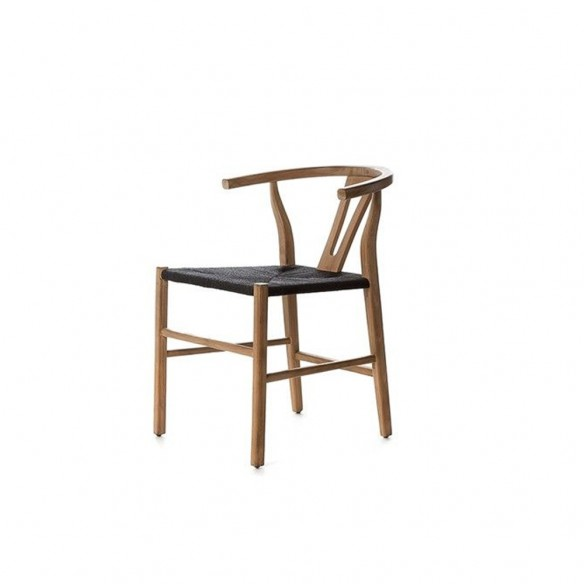ROB Dining Chair in Natural Reclaimed Teak and Black Rope