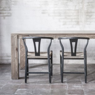 ROB Dining Chair in Black Reclaimed Teak and Natural Rope