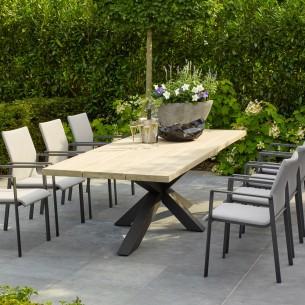 Table de jardin TIMOR en teck gris et aluminium anthracite 8 places L280