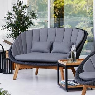 Canapé de jardin PEACOCK 2 places Corde souple et coussins gris