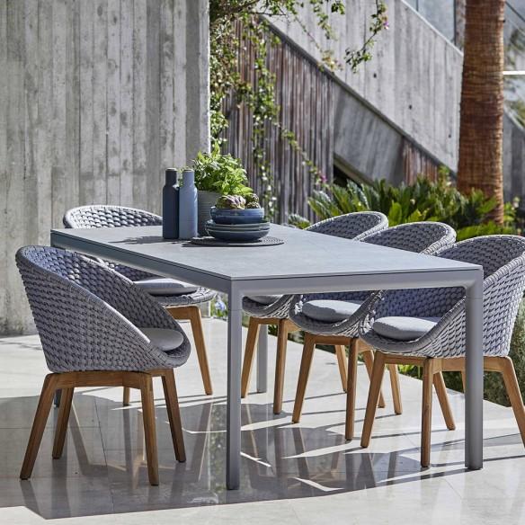 Chaise de jardin PEACOCK Corde souple et coussin gris clair