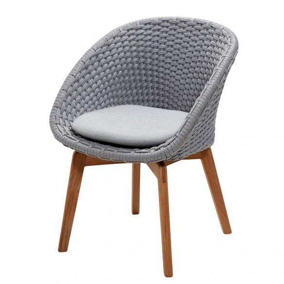 Chaise de jardin PEACOCK Corde souple et coussin gris clair cane line