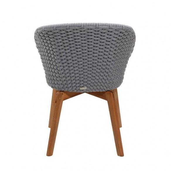 Chaise de jardin Corde souple et coussin gris clair