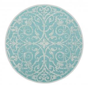 SUMMER QUAI Turquoise Polypropylene Round Outdoor Rug D230cm