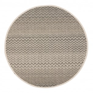 ZIGGY Anthracite Beige Polypropylene Round Outdoor Rug D230cm
