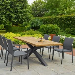 Table de jardin TIMOR en teck et aluminium anthracite 6 places L230