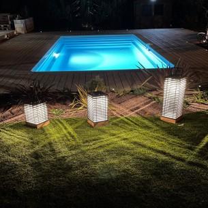 Trio de lanternes solaires TEKURA H37cm H46cm H66cm intensité réglable