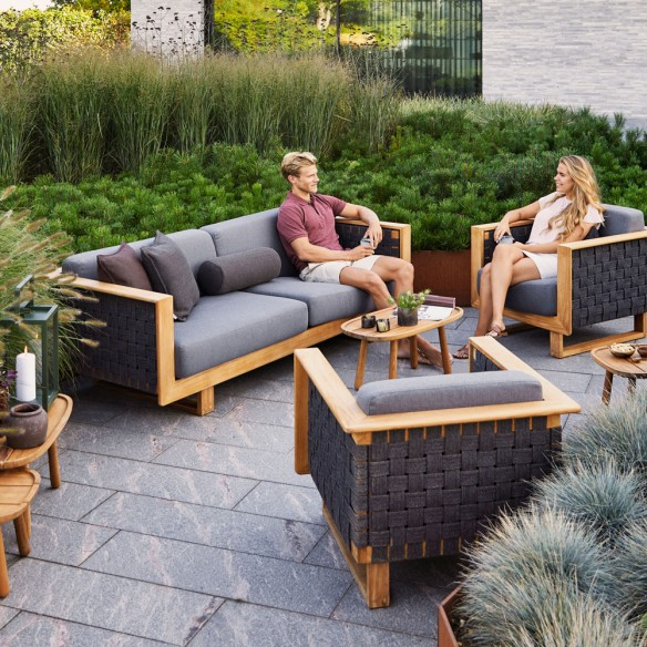 ANGLE Garden Sofa 3 Seater in Dark Grey and Teak
