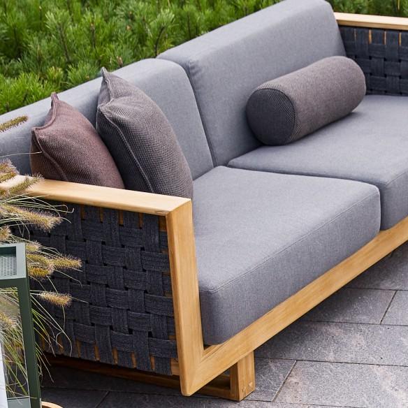 Cane-line Angle 3-seater sofa w/teak frame, incl. grey