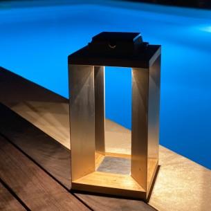 Lanterne solaire TECK INOX H45cm LED rechargeable intensité réglable