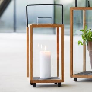 LIGHTHOUSE Lantern H42cm in Teak and Lava Grey Aluminium