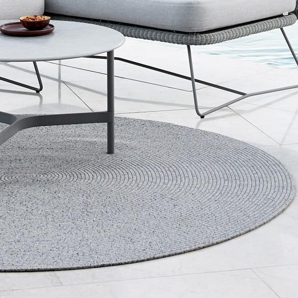CIRCLE Light Grey Polypropylene Round Outdoor Rug D140cm