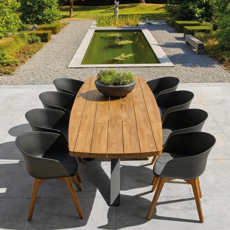 timor outdoor dining table 8seater teak with aluminium