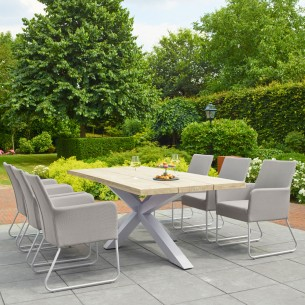 Table de jardin TIMOR en teck gris et aluminium blanc 8 places L280