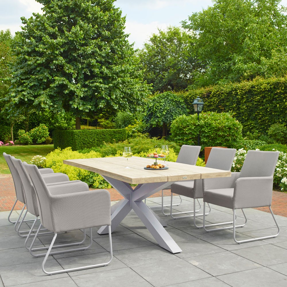 Timor Outdoor Dining Table 8 Seater Grey Teak And White Aluminium