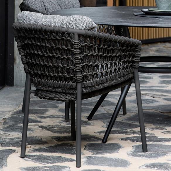 Chaise de jardin OCEAN Corde souple gris foncé et coussin gris Cane-line