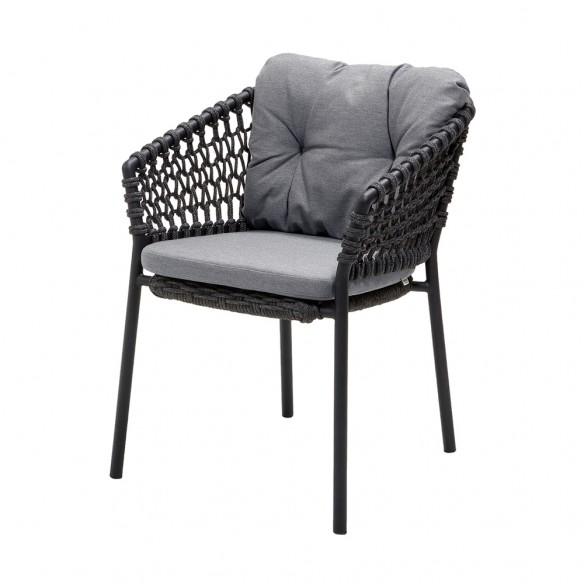Chaise de jardin OCEAN Corde souple gris foncé et coussin gris