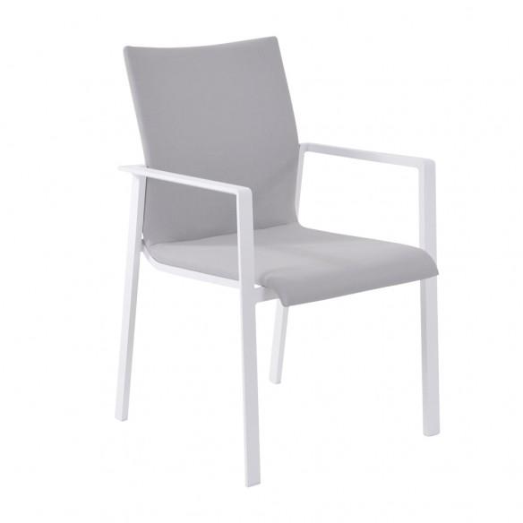 Chaise de jardin empilable en aluminium blanc et textilène
