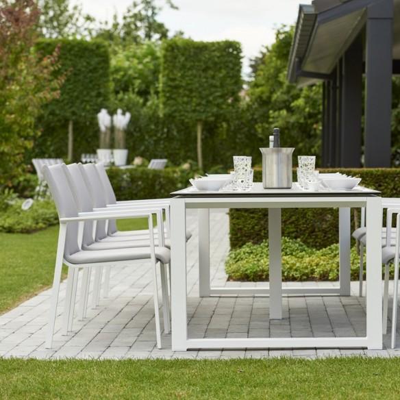 Chaise de jardin SENSE empilable en aluminium blanc et textilène