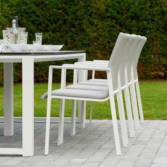 Chaise de jardin SENSE blanc et gris