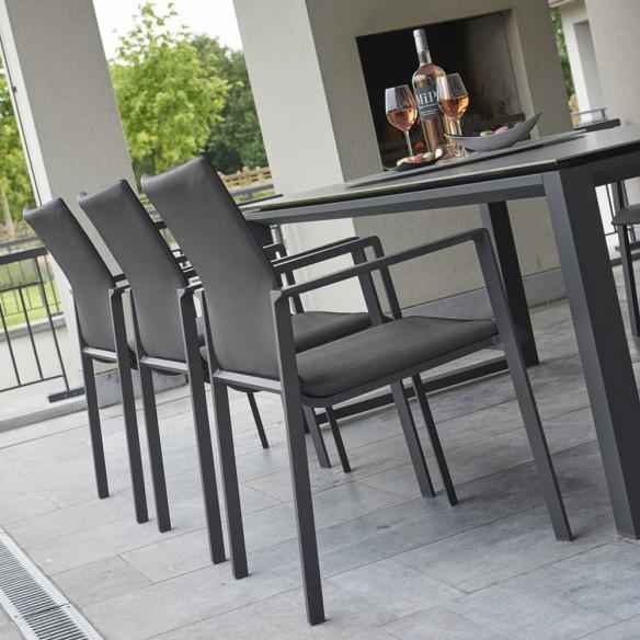 Chaise de jardin encastrable gris lave et gris anthracite