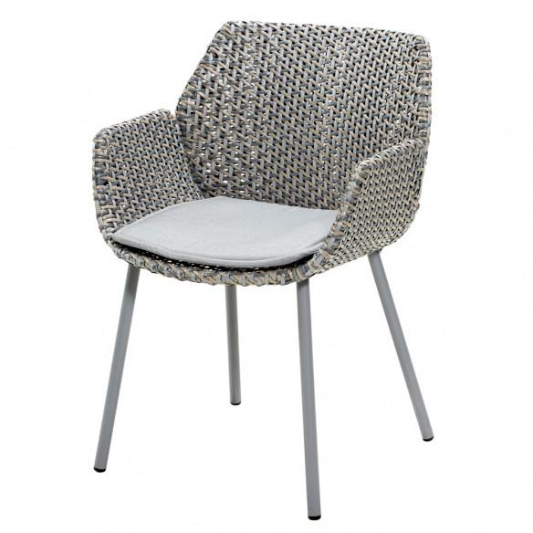 Chaise de jardin VIBE résine tressée coussin gris clair