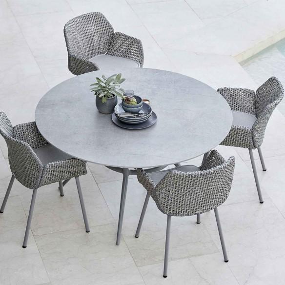 Chaise de jardin VIBE résine tressée gris clair/gris/taupe et coussin taupe