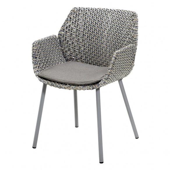 Chaise de jardin VIBE résine tressée gris clair/gris/taupe et coussin taupe Cane-line