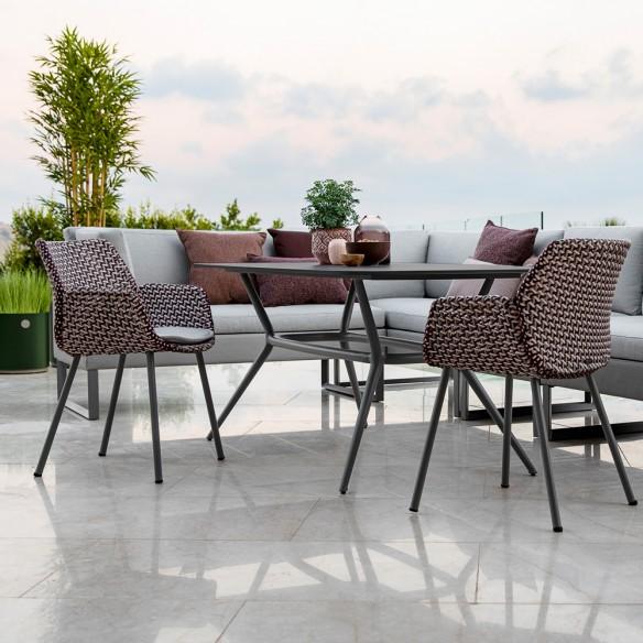 Chaise de jardin VIBE résine tressée gris clair/bordeaux/rose et coussin gris clair