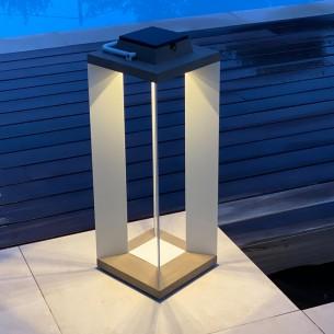 Lanterne solaire DURATEK ALU blanc H65cm LED rechargeable Intensité réglable