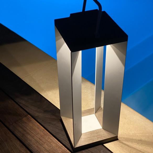 DURATEK Solar Lantern H65cm White Aluminium Rechargeable LED Adjustable Brightness