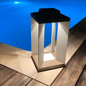 Lanterne solaire DURATEK ALU blanc H45cm LED rechargeable Intensité réglable