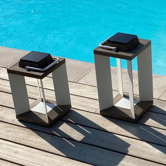 DURATEK Solar Lantern H36cm White Aluminium