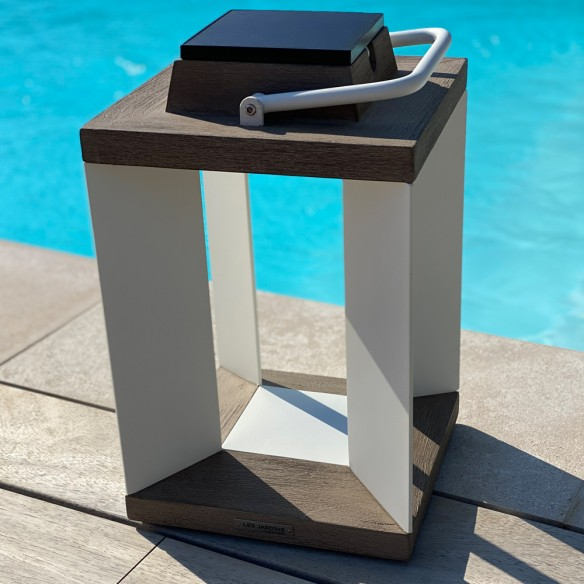 Les Jardins DURATEK Solar Lantern H36cm White Aluminium Rechargeable LED Adjustable Brightness
