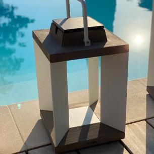 Lanterne solaire DURATEK ALU blanc H36cm LED rechargeable Intensité réglable