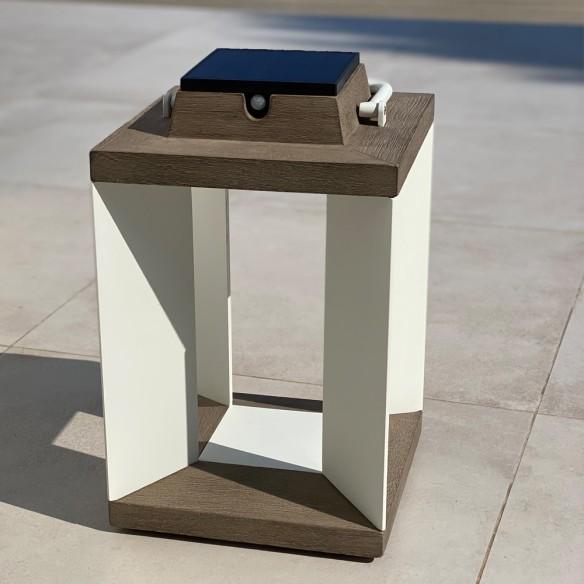 Solar Lantern H36cm White Aluminium Rechargeable LED Adjustable Brightness